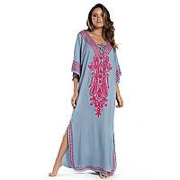 Туника-платье пляжная серого цвета с вышивкой опт, фото 1