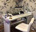Маникюрный стол с стеклянной столешницей и мощной вытяжкой, белый., фото 7