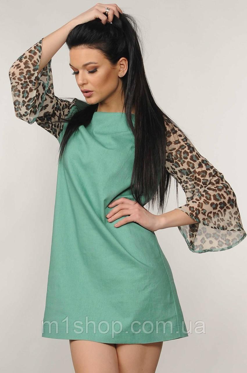 Женское короткое платье с леопардовыми рукавами (Лео ri)