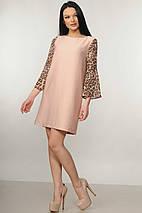 Женское короткое платье с леопардовыми рукавами (Лео ri), фото 2