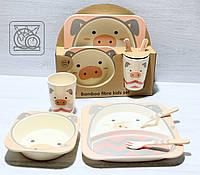 Набор детской бамбуковой посуды Хрюша, фото 1