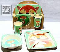 Бамбуковый набор детской посуды Лисичка (5 предметов), фото 1