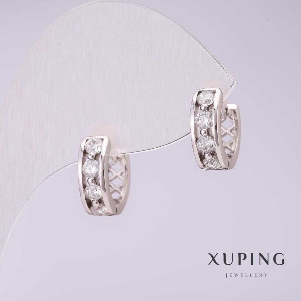 Серьги Xuping с белыми камнями 12х4мм родий