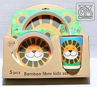 Набор детской бамбуковой посуды Лев, фото 1