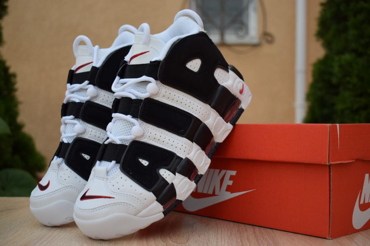 Мужские кроссовки Nike Air More Uptempo (бело-черные)