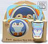 Дитячий посуд з бамбука Пінгвін (5 предметів)