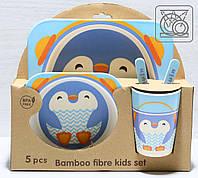 Дитячий посуд з бамбука Пінгвін (5 предметів), фото 1