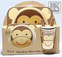 Бамбуковый набор детской посуды Обезьянка (5 предметов), фото 1
