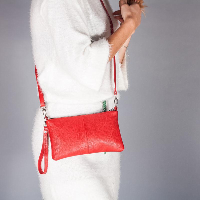 Сумка-кошелек женская небольшая из натуральной красной кожи с плечевым ремешком и ручкой-петлей