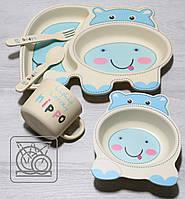 Детская бамбуковая посуда Бегемотик