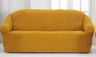 Накидка чехол на 3-х местный диван от 170 до 230 см жёлтый