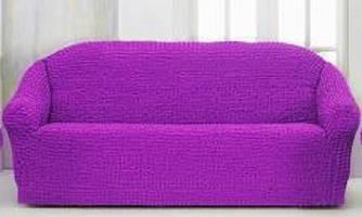 Накидка чехол на 3-х местный диван от 170 до 230 см фиолетовая