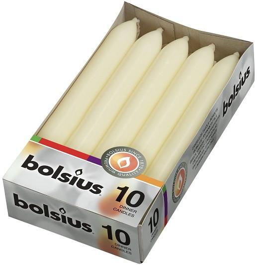Свеча столовая кремовая Bolsius 17 см 10 шт (1-011Б)