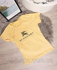 19099-B желтый Burberry футболка женская с принтом летняя стрейчевая (S-L, 5 ед.)