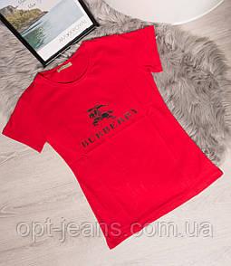 19099-B красный Burberry футболка женская с принтом летняя стрейчевая (S-L, 5 ед.)