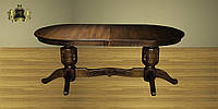 Стіл дерев'яний з масиву бука, розкладний , колір горіховий, 2.00+50х100х77