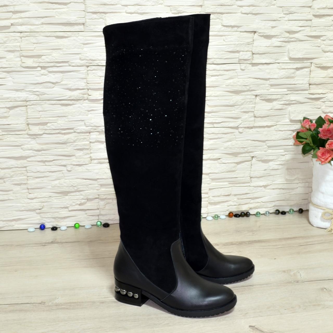 Ботфорты женские на каблуке, натуральная черная кожа и замша