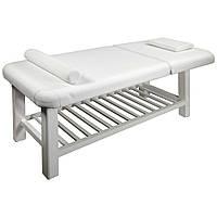 Стационарный массажный стол для массажа кушетка цвет белый ZD877