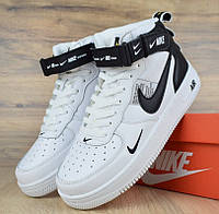 Женские зимние кроссовки Nike Air Force Winter 1 Mid LV8 высокие белые на Меху 1В1 Как ОРИГИНАЛ ААА+