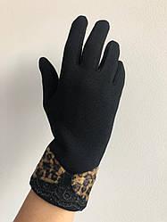 Женские трикотажные перчатки  леопард