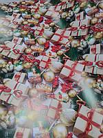 Упаковочная бумага  с рисунком новогодние подарки