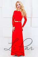 Женское платье в пол с гипюром Lipar Красное