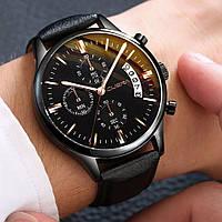 Часы мужские Cuena наручные кварцевые с чёрным эко-ремешком и чёрным циферблатом