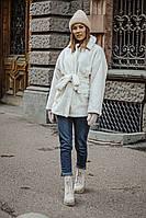 Полушубок женский короткий из букле-барашек с карманами под пояс (К29433), фото 1