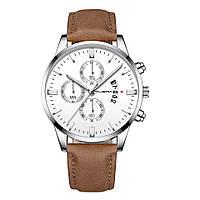 Часы мужские Cuena наручные кварцевые с коричневым эко-ремешком и белым циферблатом,цвет корпуса хром