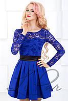 Женское нарядное платье из гипюра Lipar Электрик