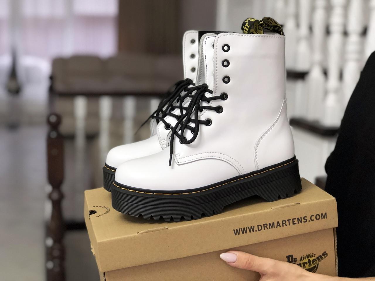 Белые ботинки классические натуральная кожа