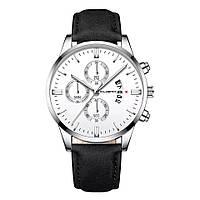 Часы мужские Cuena наручные кварцевые с чёрным эко-ремешком и белым циферблатом,цвет корпуса хром