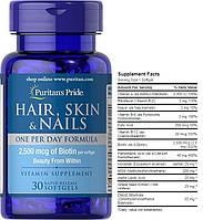Puritan's Pride, Комплекс для волос, кожи, ногтей, 30 капсул
