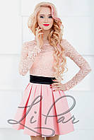 Женское нарядное платье из гипюра Lipar Пудра