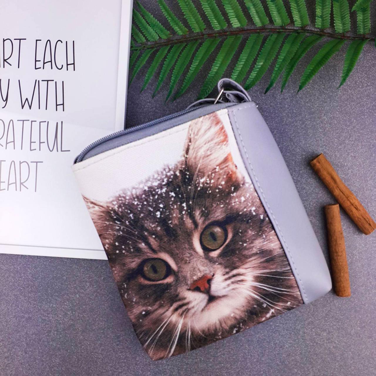 Серая сумка для девочки Mini Miss с принтом кошка