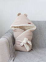 """Стильный зимний велюровый конверт-одеяло с ушками""""Velvet"""" (подклад махра) бежевый"""