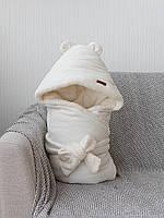"""Стильный зимний велюровый конверт-одеяло с ушками""""Velvet"""" (подклад махра) молочный"""
