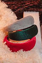 Бархатный широкий трендовый обруч для волос, объемный ободок с бархатной тканью