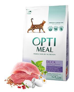 Сухой корм Optimeal Оптимил для кошек с эффектом выведения шерсти утка, 10 кг