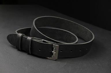Кожаный пояс под джинсы цвет Черный с пряжкой №4