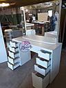 Стол для визажиста, гримерный стол для макияжа, с лампами по периметру зеркала., фото 10