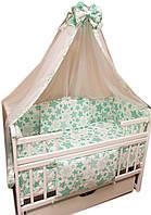 """Акция! Набор постельного в детскую кроватку 8 элементов """"Белый с салатовыми звездами"""""""