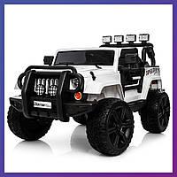 Детский электромобиль Jeep c пультом Bambi M 3824 EBLR-1 белый   Дитячий електромобіль Бембі білий