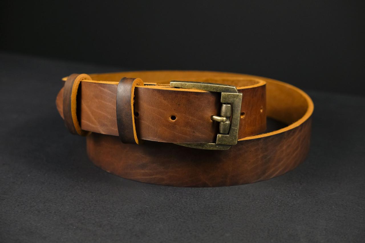 Кожаный пояс под джинсы цвет коньяк с пряжкой №3