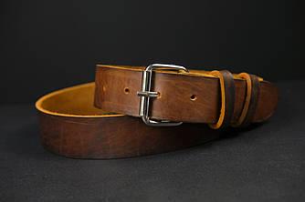 Кожаный пояс под джинсы цвет коньяк с пряжкой №2