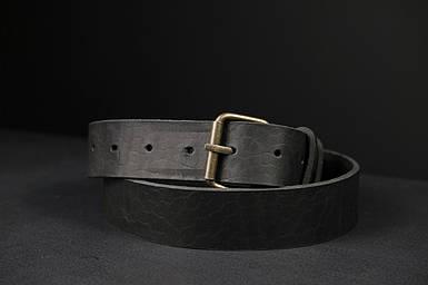 Шкіряний пояс під джинси колір Чорний з пряжкою №1