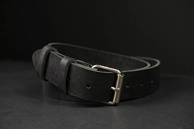 Шкіряний пояс під джинси колір Чорний з пряжкою №2