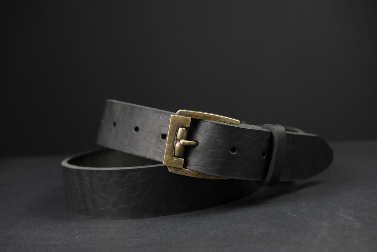 Кожаный пояс под джинсы цвет Черный с пряжкой №3
