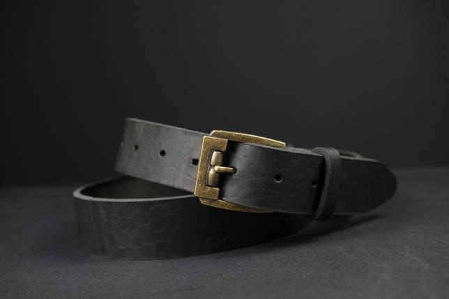 Кожаный пояс под джинсы цвет Черный с пряжкой №3, фото 2