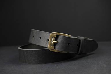 Шкіряний пояс під джинси колір Чорний з пряжкою №3